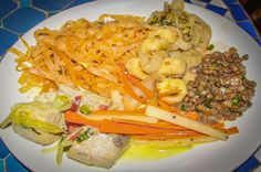 Pasta, lentils, fish and vegetables Blue Osa Yoga Retreat Playa Tamales, Osa Peninsula Costa Rica #yoga #yogi #retreat #food #foodie