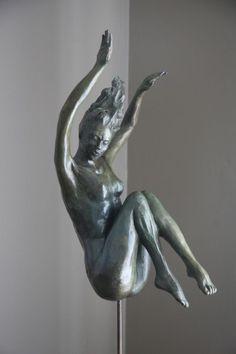 #Bronze #sculpture by #sculptor Heidi Hadaway titled: 'Descending (Small bronze…