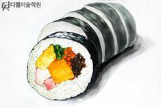 Sushi Drawing, Food Drawing, Gimbap, Watercolor Food, Watercolor Paintings, Sushi Party, Cute Food Art, Food Sketch, Coffee Illustration