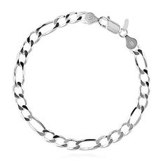 """BERRICLE Sterling Silver Fashion Figaro Chain Bracelet 8"""" * Click on the image for valentines gift ideas."""