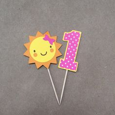You Are My Sunshine Birthday Party or Baby Shower Cupcake & Party Picks in Pink, Set of 12