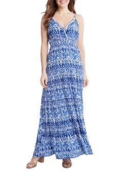 d867696f5d Karen Kane Blue Multi Tiered Maxi Dress Karen Kane