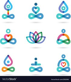 Illustration of Collection of yoga, zen, meditation icons, colorful elements and symbols vector art, clipart and stock vectors. Zen Meditation, Yoga Zen, Meditation Symbols, Gaia Yoga, Bikram Yoga, Meditation Quotes, Tatouage Yogi, Yoga Symbole, Yoga Images
