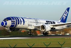 "All Nippon Airways (ANA) Boeing 787-9 Dreamliner JA873A (cn 34530/345) ""Star wars"" landing on 25L"