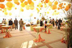 chinese wedding lanterns, wedding reception decor, yellow wedding, tented wedding