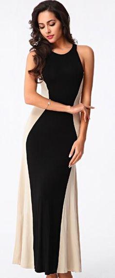 Color Block Slim Brief Party Elegant Formal Dress