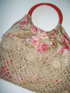 Pre 1930's era Tatted Purse very Delicate  9 inch long-Silk type fabric with Bakelite style handles -all handmade