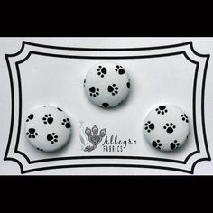 Medium Fabric Covered Buttons Button Set of 3 Novelty Black Puppy Dog Animal Paw Prints on White Timeless Treasures
