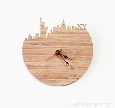 New York Modern Wall Clock - Statue of Liberty, Empire State Building Clock. $39.99, via Etsy.