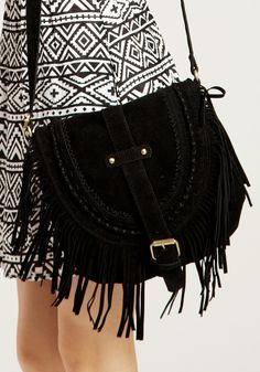 Black Foldover Tassel Shoulder Bag | Lookbook Store