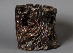 Chinese Brush Pot (18th century China) Chinese Brush, Chinese Art, Wood Stone, Caligraphy, Chinese Painting, 18th Century, Watercolors, Natural Wood, Brushes