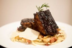 Balsamic and Pomegranate Short Ribs with Bacon, Mushroom and Sun-Dried Tomato Trofil