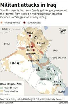 Iraq's Long Unraveling - Nicholas Slayton - The Atlantic Iraq Crisis, City Layout, Oil Refinery, Timeline Design, Al Qaeda, Big Oil, Old Maps, Insurgent, Baghdad