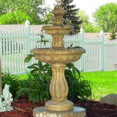 Outdoor Solar On Demand Two Tier Tulip Water Fountain Earth Finish Garden Decor