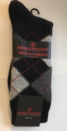 Black with Gray Argyle. San Giacomo, Socks For Sale, Dress Socks, Christmas Stockings, Men Dress, Cashmere, Wool, Gray, Black