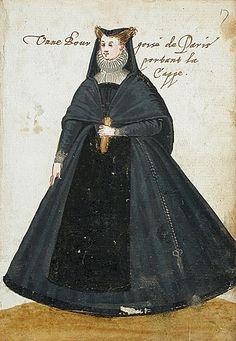 """  A Parisian lady; Parisian bourgeois in a cloak. Album Amicorum of a German Soldier, 1595 """