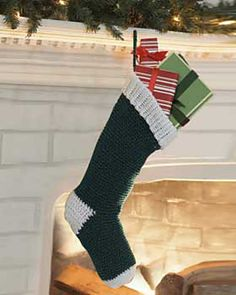 Free crochet Christmas stocking pattern from Knit and Crochet Now! TV See 'Pattern Crochet Christmas Stocking Pattern, Crochet Stocking, Crochet Christmas Ornaments, Holiday Crochet, Christmas Knitting, Crochet Gifts, Crochet Yarn, Free Crochet, Christmas Stockings