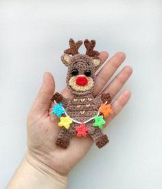 PATTERN Reindeer Rudolph Applique Crochet Pattern PDF Crochet Deer Christmas Holiday Accessories Mot Crochet Deer, Crochet Santa, Crochet Home, Crochet Motif, Crochet Flowers, Crochet Christmas Ornaments, Christmas Crochet Patterns, Holiday Crochet, Christmas Knitting