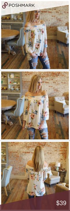 "Ivory off shoulder floral top Modeling size small.  98% polyester 2% spandex.  Bust laying flat pit to pit: S 19""M 20"" L 21"". Length S 23"" M 24"" L 25"". Add to bundle to save when purchasing. IR9330112.T61222 Infinity Raine Tops"