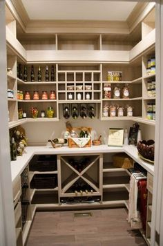 This custom kitchen pantry design features a range of organizational elements. - This custom kitchen pantry design has a number of organizational elements, … - Pantry Closet Organization, Pantry Room, Pantry Shelving, Organization Ideas, Organized Pantry, Shelving Ideas, Walk In Pantry, Small Pantry Closet, Ikea Pantry