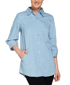 This Chambray Denim Boyfriend Button-Up - Plus Too by Joan Rivers Classics Collection is perfect! #zulilyfinds