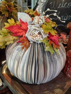 Tutorial: Book Pumpkin: Sunday View - Good directions w photos to create a book page pumpkin.