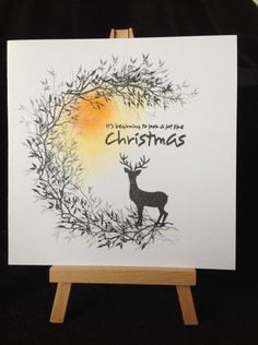 handmade Christmas card: A winter wish by Geri Glynn … sponged sun … big C created with Mini Cardio Stamps inked in black … silhouette stag … one layer beauty . Christmas Card Sayings, Stamped Christmas Cards, Homemade Christmas Cards, Christmas Cards To Make, Xmas Cards, Christmas Art, Handmade Christmas, Homemade Cards, Holiday Cards