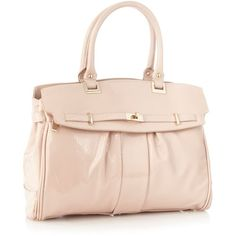 Light Pink Pleated Patent Tote Bag ($27) ❤ liked on Polyvore featuring bags, handbags, tote bags, bolsas, purses, sacs, women's clothing, patent purse, flap purse and light pink purse