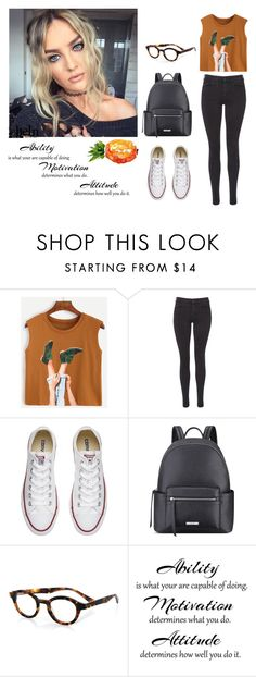 """""""Camel Graphic Print Top - SHEIN"""" by inesfragosa ❤ liked on Polyvore featuring Maison Scotch, Converse, Nine West and eyebobs"""