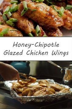 Addictively crispy and easy to make these oven-baked chicken wings are glazed with a sweet and sticky honey-chipotle sauce.