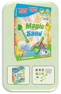 Com MAGIC SAND Descobre: - O que é a Magic Sand - As diferenças entre a areia normal e a Magic Sand - As substâncias hidrofóbicas e as suas propriedades - O que é a tensão superficial - Como fazer fantásticas construções subaquáticas.