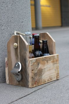 Wooden Pallet Six Pack Beer Tote by NWPalletDesigns on Etsy, $25.00