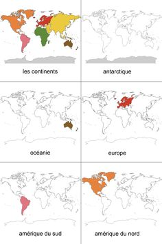 World Map Continents, Continents And Oceans, Montessori Education, Montessori Activities, Fun Worksheets For Kids, Activities For Kids, Le Puzzle, World Map Printable, Italian Lessons