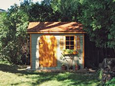 Why yes, we do make product plans for fairy tale dreams (like yours)… Small Wood Shed, Small Sheds, Garden Tools, Garden Sheds, Shed Kits, She Sheds, Roof Plan, Shed Plans, Building Plans