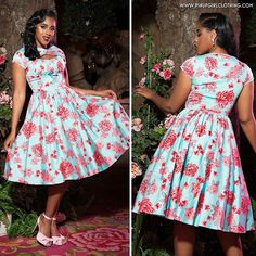 Our beautiful Pinup Couture Evelyn dress in baby blue and pink rose print.  Restocked in sizes XS - 4X now at www.pinupgirlclothing.com. Model: @ashlace_ Photo by: @loriannephoto <3 Micheline #pinupgirlclothing #pinupgirlstyle #pinupgirl #pinup #pinupcouture #bodypositive #coutureforeverybody