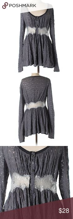 "Free People long sleeve babydoll top medium gray Medium long sleeve free People babydoll blouse. Has beautiful lace and Button details. In great condition!  34"" Chest, 27"" Length 51% Cotton, 48% Nylon, 1% Spandex Free People Tops Blouses"