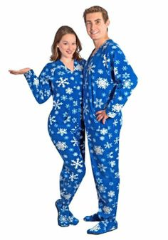 couples pajamas blue snowflake footed pajamas w drop seat xmas pjs holiday