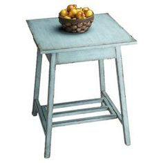 "Accent table with a hand-painted distressed finish.  Product: Accent tableColor: French blueFeatures: Hand-paintedDimensions: 28"" H x 22"" W x 22"" DCleaning and Care: Wipe with a soft dry or slightly dampened cloth"