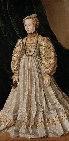 Archduchess Anna of Austria,Duchess of Bavaria by Jakob Seisenegger, ca 1545. Beautiful dress.
