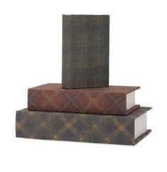 Shop woodland imports 61411 world map leather faux book boxes set 5220 imax ski lodge book boxes set of 3 gumiabroncs Image collections