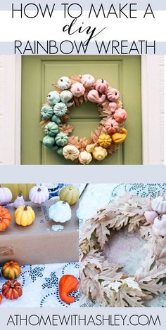 DIY pumpkin rainbow wreath. How to make an easy Halloween wreath frrom gourds and leaves that's colorful. This pastel cutie is perfect for a front door in the fall. Follow the video tutorial to see how to start with a form and hot glue on everything else.