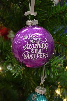 Custom Personalized Glitter Ornament  - great teachers gift!