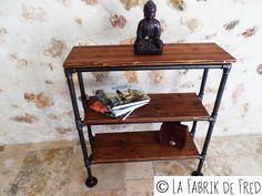 Console - meuble indus -  bibliothèque industrielle vintage en tuyau de fonte noire - réalisation sur mesure en fonction de vos besoins de la boutique laFabrikdeFred sur Etsy