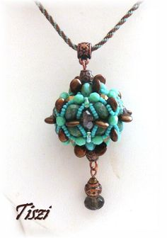 Necklace with beaded bead Babita  OOAK jewelry by Tiszi on Etsy, $40.00