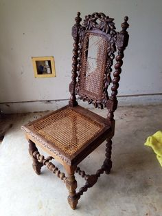 Before   1850u0027s Oak Barley Twist Chair. Antique ...