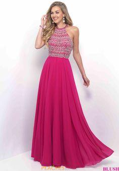 High Halter Blush A Line Dress 11251