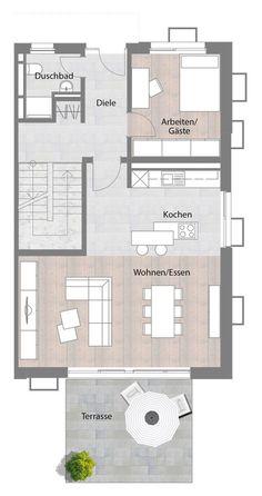 Zimmer 1 und 2= Wohnzimmer mit offener Küche | Wohnen | Pinterest ...