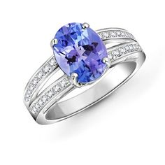 Angara Tanzanite Cocktail Ring in 14k Yellow Gold 2lzjokk2B