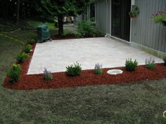 landscaping around patio - size and shape i'm leaning towards ... - Landscaping Ideas Around Patio