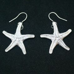 Starfish Earrings Silver Plate